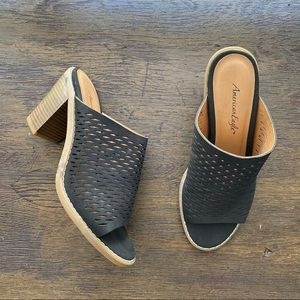 American Eagle Perforated Faux Suede Mules Black 6